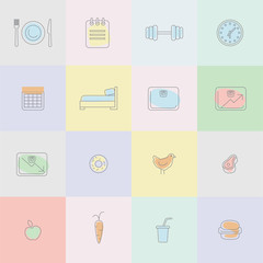 Weight loss infographic icons design template