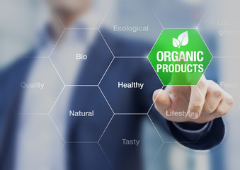 Organic products concept, businessman touching green button