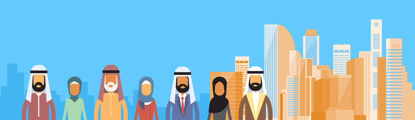 Arab Business People Group, Arabic Crowd Over Big City Landscape