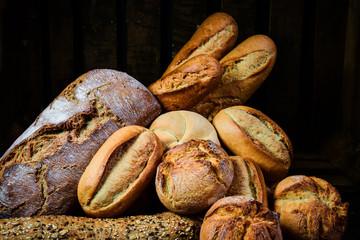 Fototapeta Different types of bread and rolls obraz