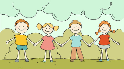 Cute happy kids standing together. Doodle cartoon boys and girls holding hands and smiling. Hand drawn summer vector illustration isolated on white background.