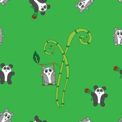 Seamless panda bear bamboo