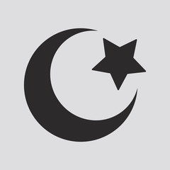 Religious Islamic Star and Crescent isolated