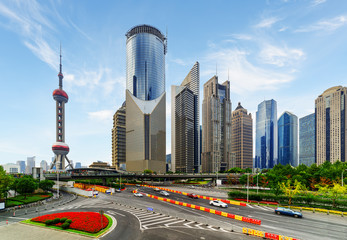 Modern view of skyscrapers on Century Avenue, Shanghai, China