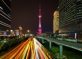 Night view of Century Avenue and the Oriental Pearl Tower