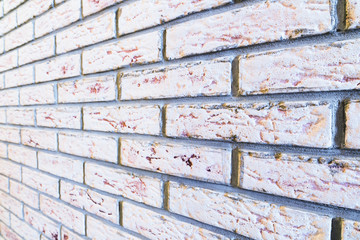 Background of decorative  brick wall texture with cement in horizontal view