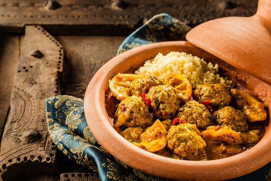 Traditional Tajine Dish of Meatballs and Couscous