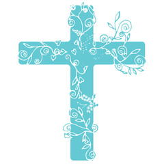 Cross in Blue color design with flora line art for decorate as Christianity.