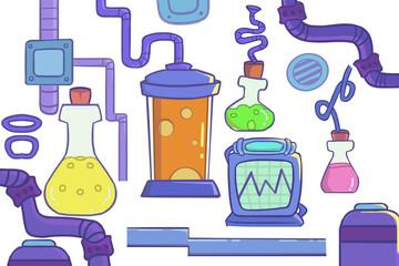 Creative Illustration and Innovative Art: Laboratory Goods. Realistic Fantastic Cartoon Style Artwork Scene, Wallpaper, Story Background, Card Design