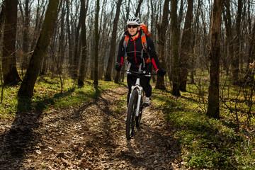 Mountain biker riding on bike in springforest landscape.