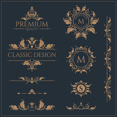 Set of monograms and borders. Graphic design pages. Template signage, logos, labels, stickers, cards.