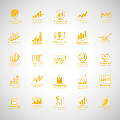 Financial Icons Set-Isolated On Gray Background-Vector Illustration,Graphic Design.Collection Of Color And Abstract Icons.Different Logotype Shape.Modern Concept Logo