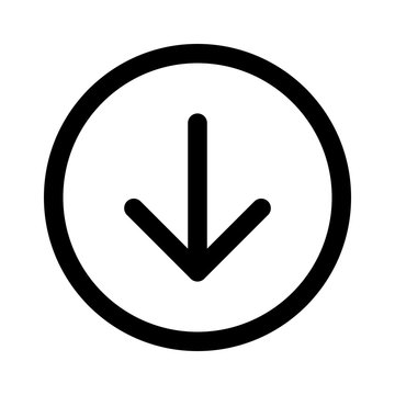 Round down arrow or south directional arrow line art icon for apps and websites