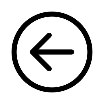 Rounded left arrow, back arrow line art icon for apps and websites