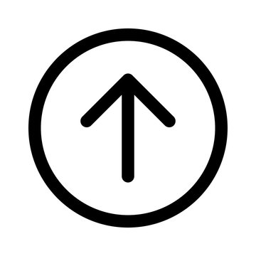 Rounded up arrow or up directional arrow line art icon for apps and websites