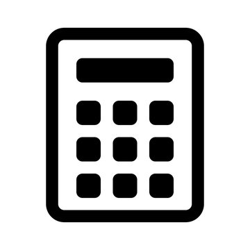 Calculator line art icon for apps and websites.