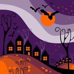 Halloween town, perfect illustration for Halloween holiday.
