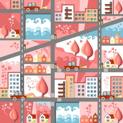 Cute cartoon map of city at dawn for Valentines Day