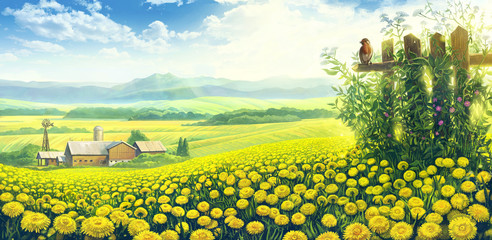 Photo sur Aluminium Jaune Summer country landscape with a field of dandelions and farm on the background plan.