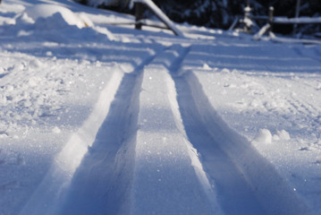 Detailed view of cross-country snow trail tracks in winter Austria.