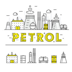 Modern petrol industry thin block line flat icons and composition
