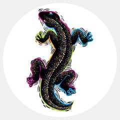 Vector drawn lizard silhouette, nature graphic symbol. Reptile