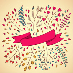 Vector illustration of  floral ribbons and borders.