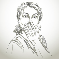 Monochrome vector hand-drawn image, shocked young woman. Black