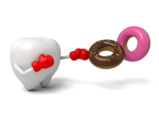 The tooth was trying to resist the sweet ring's temptation
