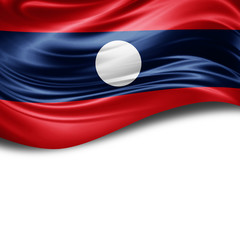 Laos flag of silk with copyspace for your text or images and White background