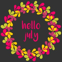 Hello july vector wreath sunny yellow, green and pink card on black background