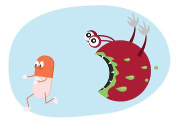 Pill running from bacteria. Antibiotic resistance cartoon illustration.