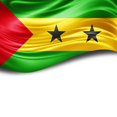 Sao Tome flag of silk with copyspace for your text or images and White background