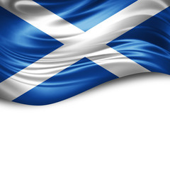 Scotland flag of silk with copyspace for your text or images and white background