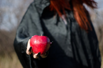 Witch from fairy tale about Snow White offers to eat an poisoned apple. Fotomurales