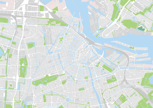 vector city map of Amsterdam, Netherlands