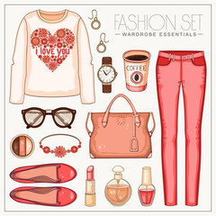 Fashion woman's casual coral outfit with trousers and top
