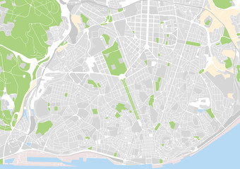 vector city map of Lisbon, Portugal