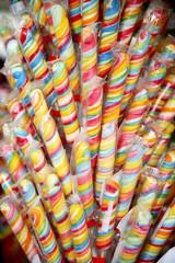 Close up of homemade swirl lollipop on retail market