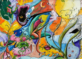 Suchbild mit Dackel, Aquarellbild bunt verrücktes Fantasiemotiv