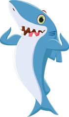 cute shark cartoon posing