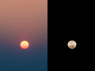 The Sun and Moon at daytime and night time. Nature concept for Day and Night.