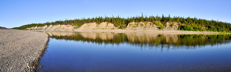 Panoramic landscape polar river in the Urals.
