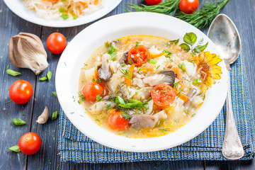 soup of sauerkraut with mushrooms. Russian kitchen
