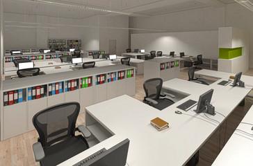 Ufficio con computer, coworking