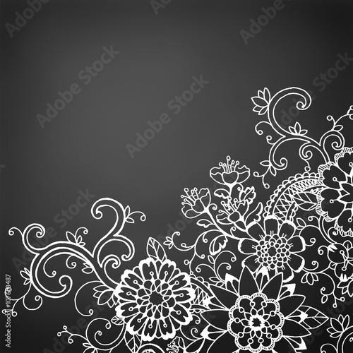 Hand Drawn Doodle Flower Border On Black Chalkboard Background Fresh Fun Wild Spring Design