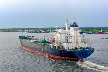 Oil products tanker in ballast