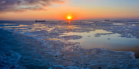 Ice floes at sunset