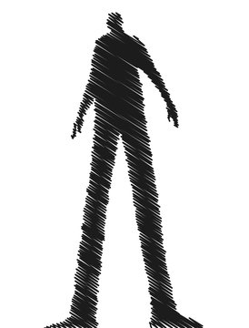 Shadowy dark figure vector sketchy illustration.