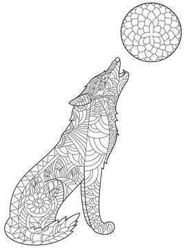 Wolf coloring vector for adults